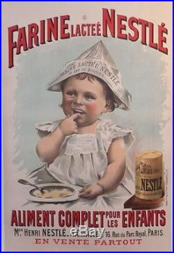 Affiche Ancienne Originale Old Poster Farine Lacte Nestle Aliment Enfant Bebe
