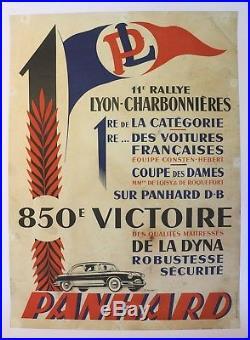 Affiche Ancienne Originale Panhard Db Dyna Rallye Lyon Charbonnieres Alexis Kow