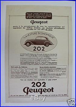 Affiche Ancienne Originale Peugeot 202