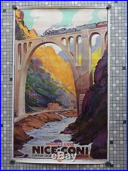 Affiche Ancienne Originale Publicite Chemins Fer PLM NICE-CONI Sig. Cossard 1929