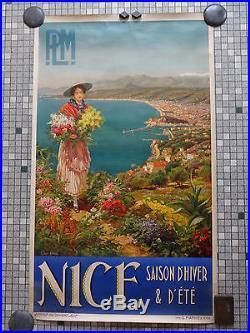 Affiche Ancienne Originale Publicite Chemins de Fer PLM NICE Signee Pierre Comba