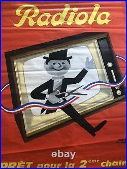 Affiche Ancienne Originale TÉLÉVISION RADIO RADIOLA HERVÉ MORVAN PARIS VINTAGE