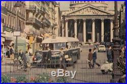 Affiche Ancienne Originale Tourisme Paris Pantheon Quartier Latin Bus Chausson