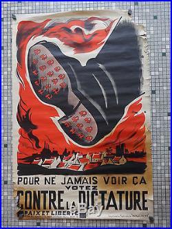 affiche ancienne originale de propagande contre la dictature faucille et marteau. Black Bedroom Furniture Sets. Home Design Ideas