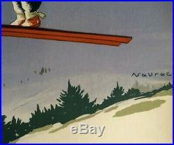 Affiche Ancienne PLM SAUT à SKI Original Vintage Poster de 1930 by NAURAC