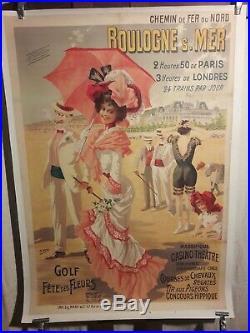 Affiche Ancienne Plage Boulogne S/mer Gray Superbe 1900