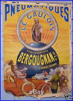 Affiche Ancienne Pneumatiques Legaulois Bergougnan Et Cie