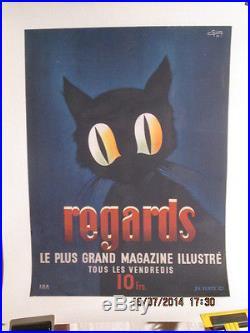 Affiche Ancienne Presse Revue Chat Etrange