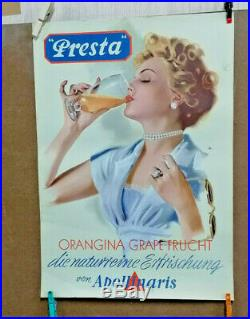 Affiche Ancienne Presta Orangina Apollinaris Pin Up