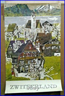 Affiche Ancienne Printemps Au Lac Des Quatre Cantons Suisse Hugo Welti