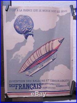 Affiche Ancienne Propagande Aeronautique Dirigeables Montgolfier