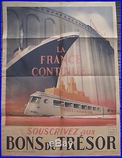 Affiche Ancienne Propagande Paquebot Petain Transaharien Falcucci 1942