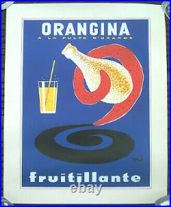 Affiche Ancienne Pub Orangina Pulpe D'orange Fruitillante Villemot Circa 1975