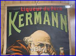 Affiche Ancienne Publicitaire Kermann F. Cazanove Bordeaux Moine Epoque Absinthe