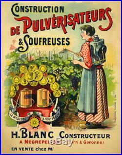 Affiche Ancienne Pulverisateur et Soufreuses Henri Blanc 1910 Entoilée