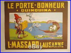 Affiche Ancienne Quinquina Lutin Grenouilles Lausanne