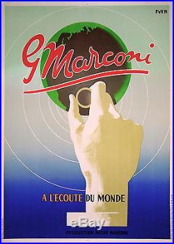 Affiche Ancienne Radio Pathe Marconi A L'ecoute Du Monde Par Even 1935