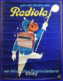 Affiche Ancienne Radiola Transistor Signé René Ravo Vintage Originale
