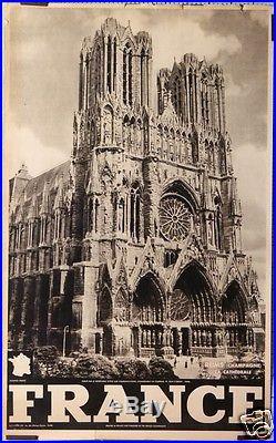 Affiche Ancienne Reims Champagne La Cathedrale