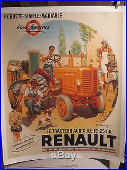 Affiche Ancienne Renault Tracteur Ferme Animation