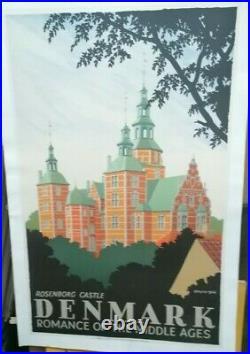 Affiche Ancienne Rosenborg Castle Danemark 1946 Spliid