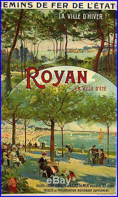 Affiche Ancienne Royan Ville d'Hiver Ville d'Eté Louis Tauzin 1900