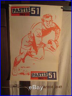 Affiche Ancienne Rugby Pastis 51 Joueur
