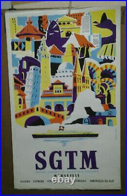 Affiche Ancienne S G T M Algerie Espagne Italie Antilles Senegal Amerique Du Sud