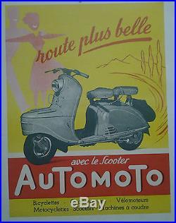 Affiche Ancienne Scooter Automoto Bicyclette Cyclomoteur Velomoteur Imp Mulcey