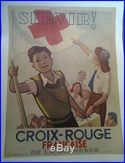 Affiche Ancienne Servir Croix Rouge Francaise Jeunesse Lauro 1946