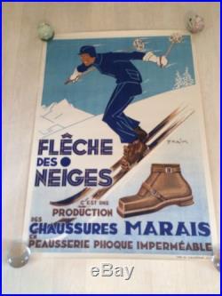 Affiche Ancienne Ski Ancien Flèche Des Neiges Chamonix Vintage Papier Ancien
