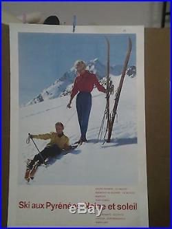 Affiche Ancienne Ski Aux Pyrenees Ax Le Saquet Bagneres Font Romeu Luchon
