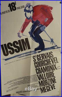 Affiche Ancienne Ski Megeve Courchevel Etc