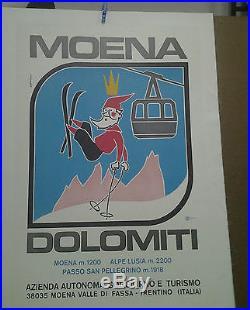 Affiche Ancienne Ski Moena Dolomiti Dolomite Italie Italia Alpes