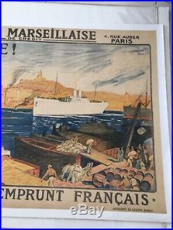 Affiche Ancienne Souscrivez À L'Emprunt Français Signé Auguste Leroux