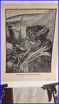 Affiche Ancienne St Exupery Aviation