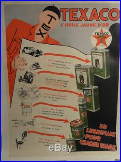 Affiche Ancienne Texaco Huiles Bidons Rare