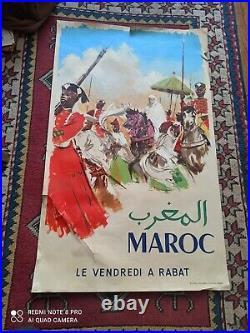 Affiche Ancienne Tourisme Circa 1957 Maroc Le Vendredi A Rabat Originale