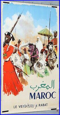 Affiche Ancienne Tourisme Circa 1960' Maroc Le Vendredi A Rabat