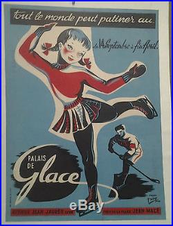 Affiche Ancienne Tout Le Monde Peut Patiner Patinage Palais De Glace Lyon Rhone