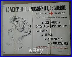 Affiche Ancienne Vetement Prisonnier De Guerre 1914 -1918 Croix Rouge Forain