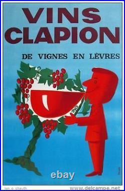 Affiche Ancienne Vin Clapion Graphique Sympa