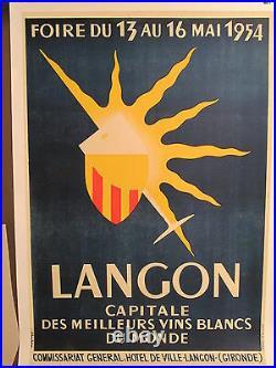 Affiche Ancienne Vins Blancs Langon Bordeaux Graphique