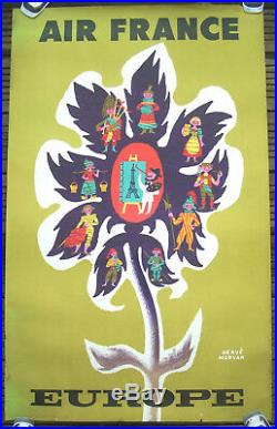 Affiche Ancienne Vintage Poster Air France Europe Herve Morvan Circa 1960