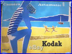 Affiche Ancienne Vintage Poster Camera Automatic 8 Kodak Villemot Circa 1950