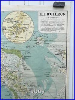 Affiche Ancienne Vintage Poster Île Oléron Rare Carte Ign 1956