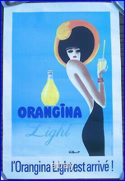 Affiche Ancienne Vintage Poster Orangina Light Est Arrivé Villemot Circa 1980