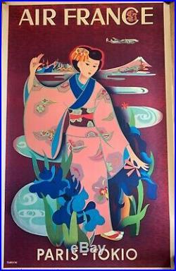 Affiche Ancienne Yasse TABUCHI RÉÉDITION Originale Musée AIR FRANCE 1990 N°A 64