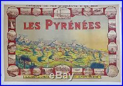 Affiche Ancienne c 1910 CARTE des PYRENEES imp PECH a Bordeaux Entoilée TBE