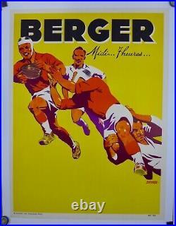 Affiche Ancienne lithographique Rugby pour BERGER 1950 par R Ducatel